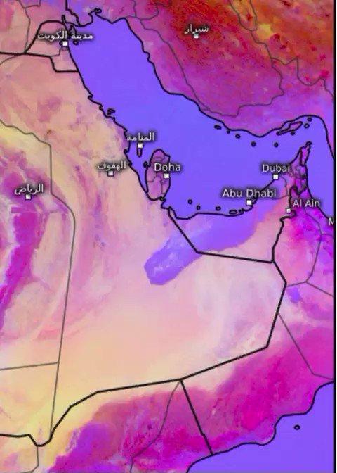 #الامارات اخر تحديث: شبه انعدام للرؤية الأفقية بسبب الضباب الكثيف وهو باتجاه المنطقه بين الامارات وعُمان والسعودية.