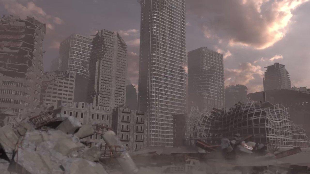 ビルが崩壊するエフェクト作りました。#Houdini#3DCG