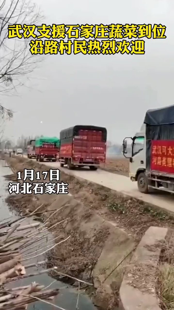 What happens in #Shijiazhuang now: #Vegetables from #Wuhan to support Shijiazhuang arrived, and villagers along the road set off #fireworks to warmly welcome them. (Source: Weibo) #WeAreInThisTogether #COVID19