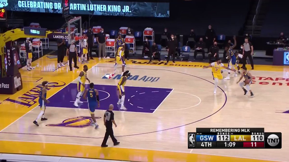 Curry doing Steph Curry things, hitting a deep three pointer. #GSWvsLAL