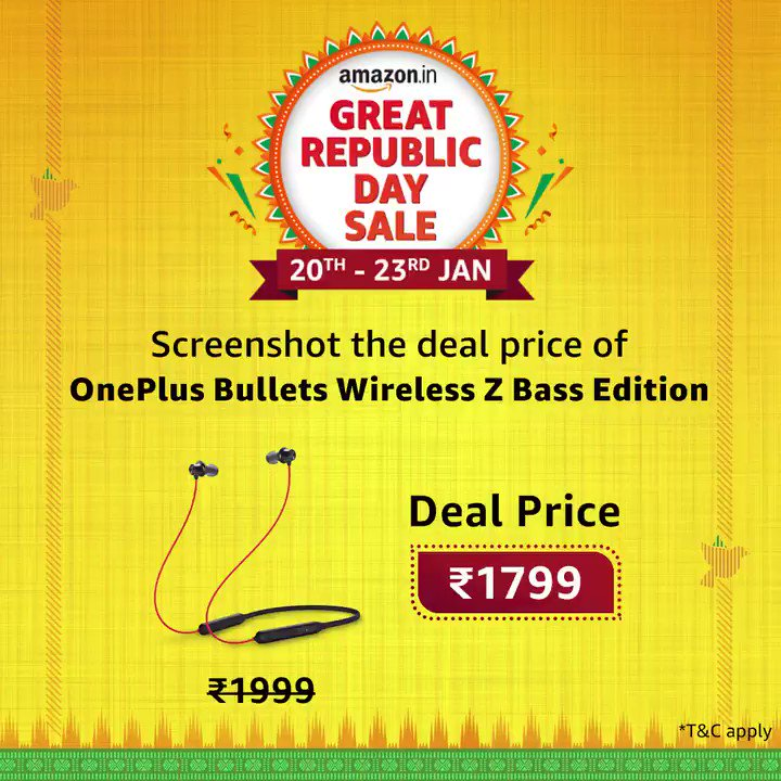 The Amazon Gift Voucher is waiting for you. Grab a screenshot of the correct deal price and share it with us using #AmazonGreatRepublicDaySale and stand a chance to win the voucher. Remember to tag us @amazonIN and use #NewBeginningsBigSavings  T&C: