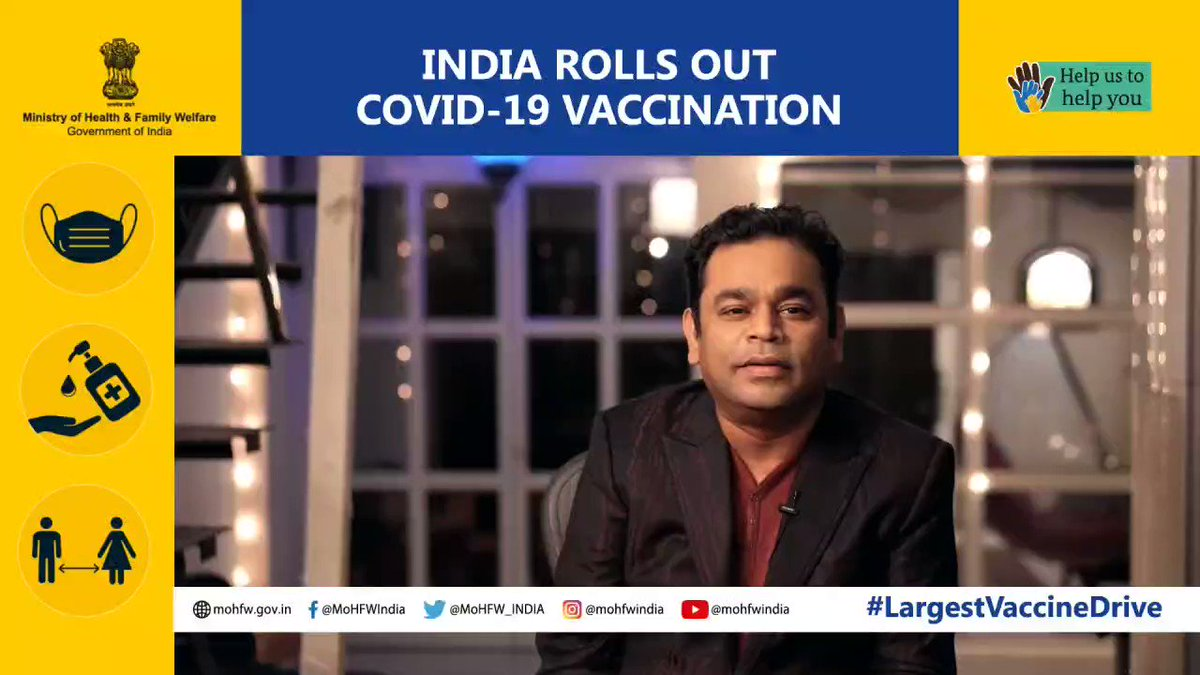 """The new year brings a fresh ray of hope and #COVID19 vaccine is the news we've all been waiting for."" - @arrahman  #LargestVaccineDrive #United2FightCorona  @PMOIndia @drharshvardhan @AshwiniKChoubey @PIB_India @COVIDNewsByMIB"