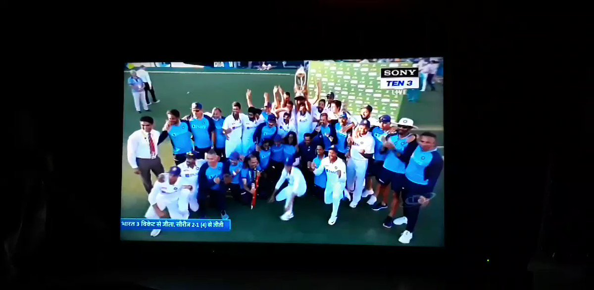Not getting over this anytime sooner! 😍🏆⭐😍 WHAT A WIN!  #INDvsAUS  #AUSvsIND #TeamIndia #IndianCricketTeam