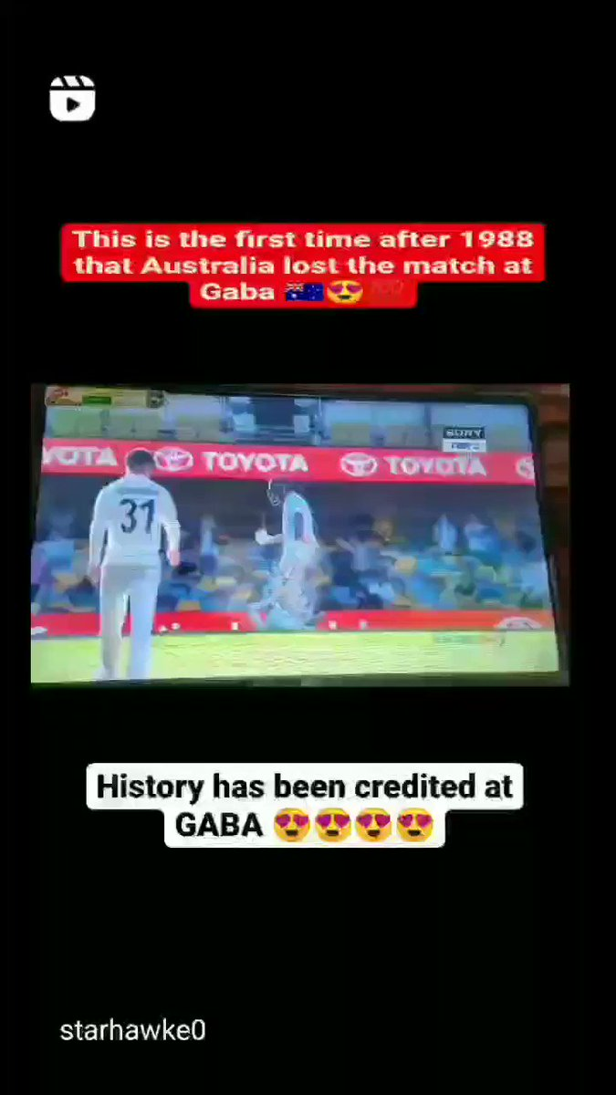 This is the first time after 1988 that Australia lost the match at Gaba 🇦🇺🏏😍💯💯💯 india🇮🇳🏏💯  #TeamIndia #indiawon #GabaTest #washingtonsundar #MohammedSiraj #Shardulthakur #AUSvsIND #INDvsAUS