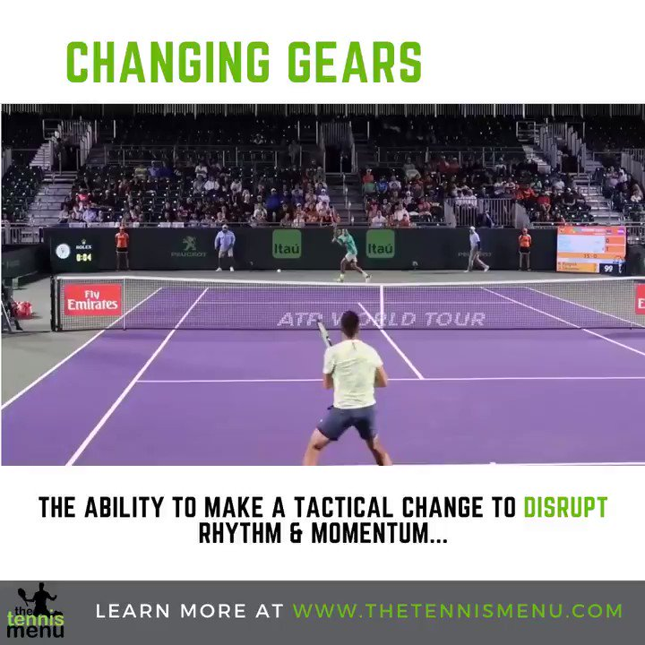 Changing gears is the ability to make tactical changes that impact the speed, rhythm or momentum of the point / game.  #changinggears #speed #momentum #rhythm #tennis #tactics #tennislessons #tennistips #protennis #kyrgios #forehand #winner #fundamentals #gamestyle #tenniscoach https://t.co/PSN2RkeYw9