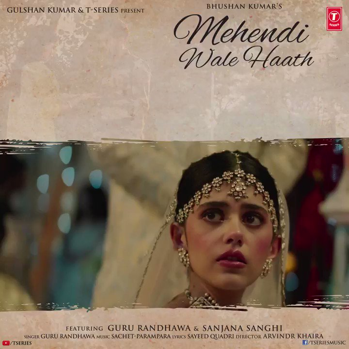#MehendiWaleHaath continues to set new records, crosses 35M+ views on YouTube. Embark on a beautiful journey of love with Guru Randhawa and Sanjana Sanghi through their mesmerising song. Tune in now!     #BhushanKumar @GuruOfficial @sanjanasanghi96
