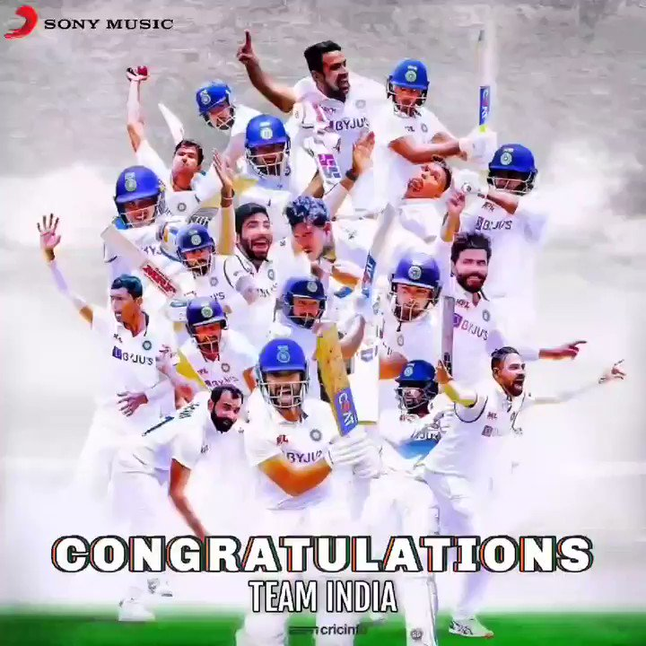 This victory will go down in the HALL OF FAME! And everyone will know your names.  Congratulations, #TeamIndia on a fabulous win!  #CongratulationsIndia #Champions #IndianCricketTeam #INDvsAUS #HallOfFame @thescript #testcricket #bordergavaskartrophy #IndiavsAustralia