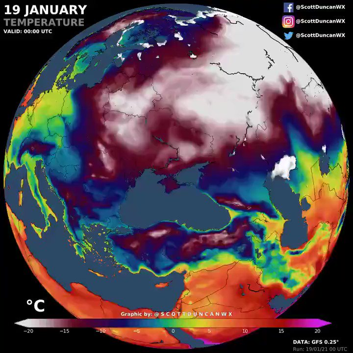 The beast in the east is given the blowtorch. Watch how quickly the cold gets blasted out of Eastern Europe in the next few days 📈
