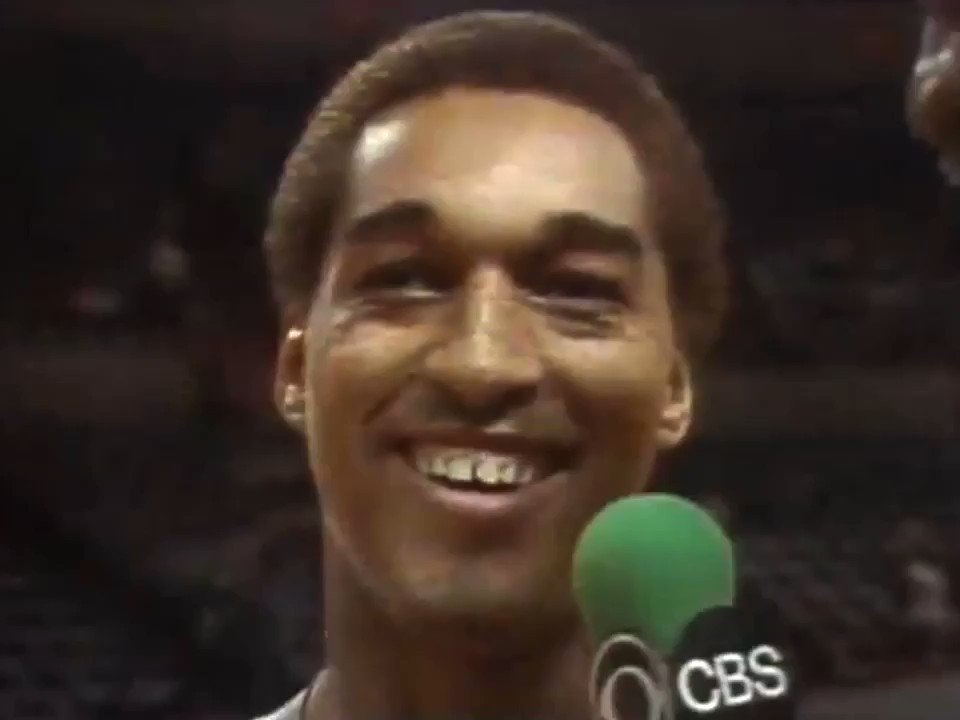 Bill Russell of CBS asked Seattle's Dennis Johnson if he'd be guarding Billy Ray Bates in Game 2 of the 1980 playoff series between the Sonics and Blazers, after Bates had scored 29 points for Portland in Game 1.  The final exchange between Russell and DJ is priceless.