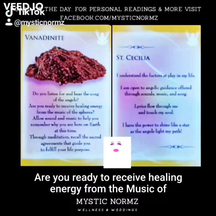 Card Of The Day: Vanadinite & St. Cecilia  #cardoftheday🔮 #journey #truth #meditation #imagination #mindfulness #selfhealers #connection #meditation #healthyconnections #spirit #fyp #newbeginnings #mystic #prayer #ceremony
