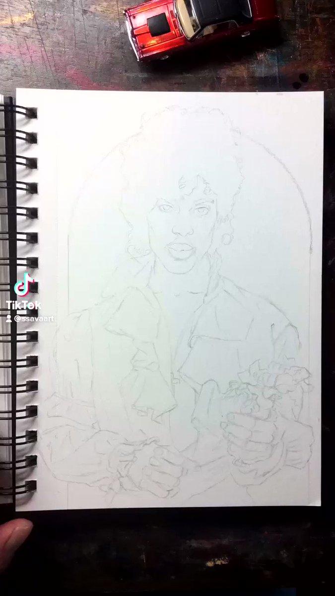Day 6 of my new sketchbook is @prnlegacy #watercolor #prince #purplerain #letsgocrazy