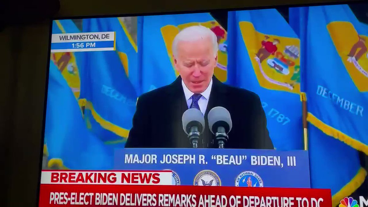 """We love you and your emotion, @JoeBiden! Our President-elect spoke of his beloved son Beau Biden: """"Ladies and gentlemen, my only regret is he is not here. Because we should be introducing him as president."""" ❤️💔#Inauguration"""