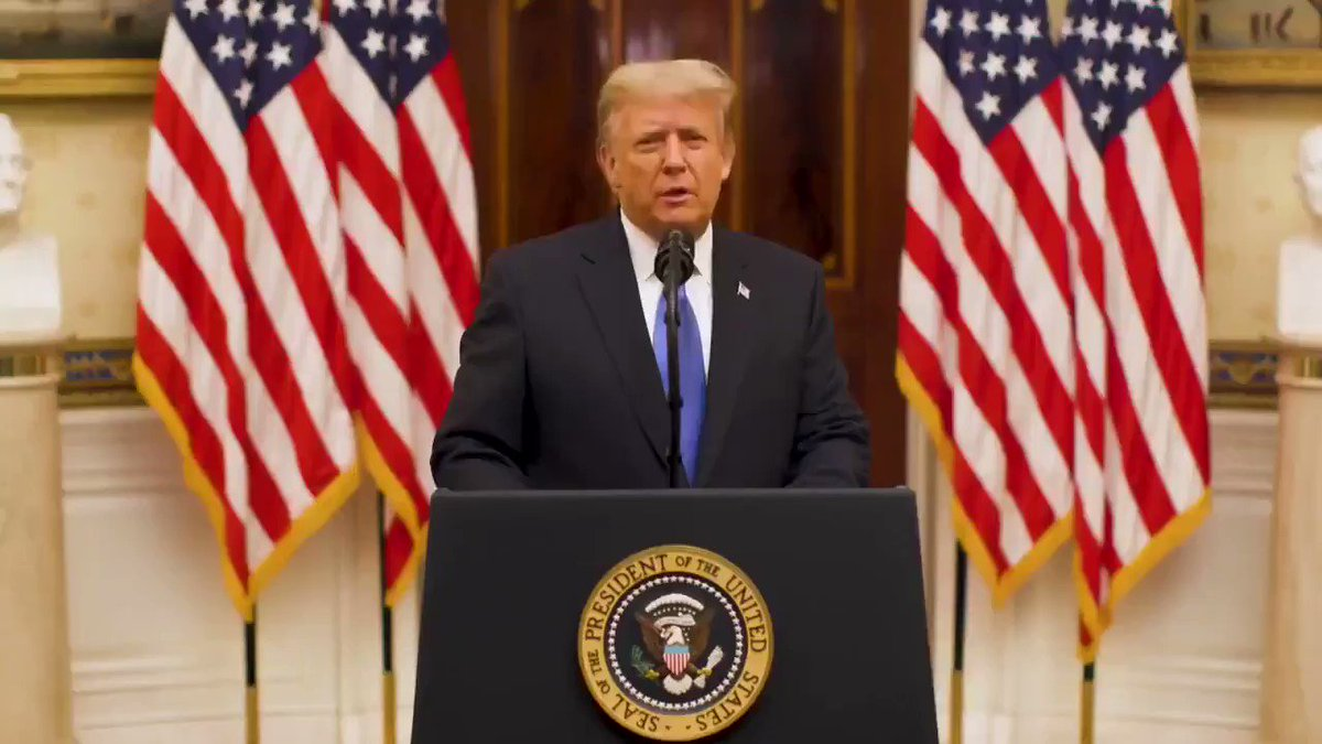 """PRESIDENT TRUMP: """"Thank you & farewell. God bless you. God bless the United States of America."""""""