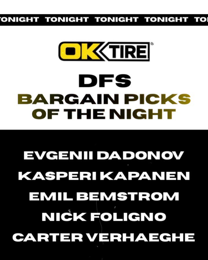 Here are our #DFS Bargain Picks of the Night - brought to you by @oktire