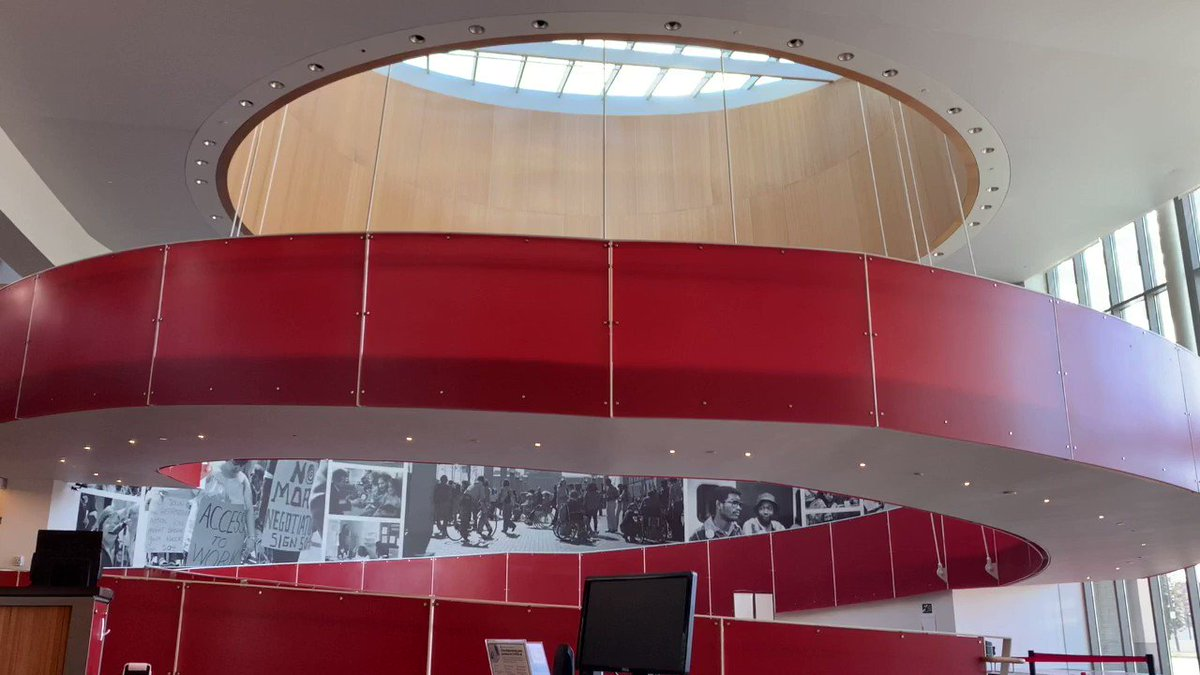DREDF joins the nation in honoring those we've lost due to COVID-19. A two-minute video showing the red circular ramp at the @EdRobertsCampus with audio of 40 chimes representing the 400,000 people in the Unites States who have died of COVID-19. #COVIDMemorial