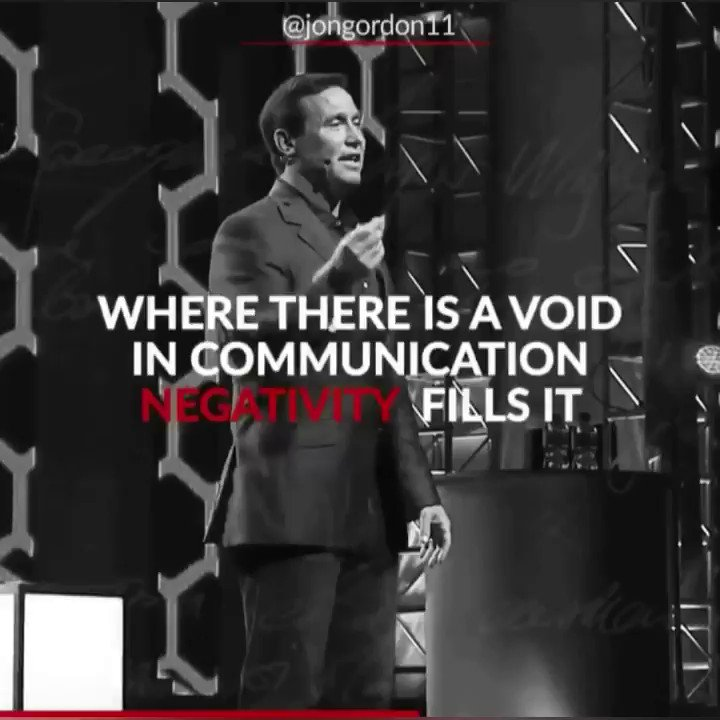 Great teams and great relationships all have great communication. Remember: Where there is a void, negativity fills it. Communicate. Communicate. Communicate.