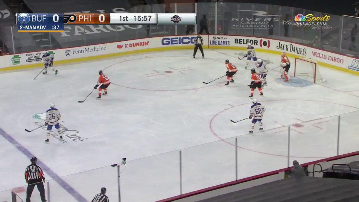 The Flyers goalies are something else 🥵  #AnytimeAnywhere - 3 ▫️Elliott: 40 save shutout ▫️Hayes: 2 points  #LetsGoBuffalo - 0 ▫️0/3 PP 😬   #NHL #BUFvsPHI #NHLFaceoff