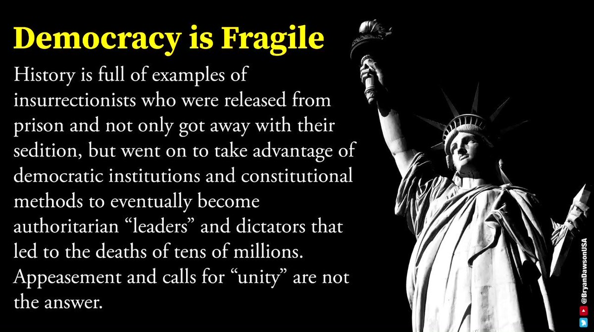 "Democracy is fragile. History is full of examples of insurrectionists released from prison, taking advantage of democratic institutions & constitutional methods to become murderous dictators. Appeasement and calls for ""unity"" are not the answer.  >>> Accountability is the answer."