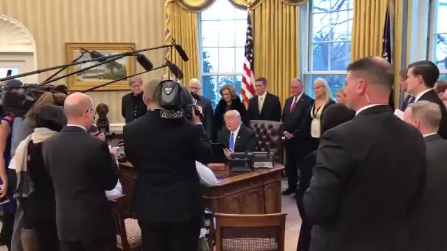 """In January 2017, flanked by his top aides, President Trump made a big show out of signing an executive order that would, among other things, institute a five year ban on former aides lobbying.   Part of his """"drain the swamp"""" pledge.  Tonight, Trump rescinded the executive order."""