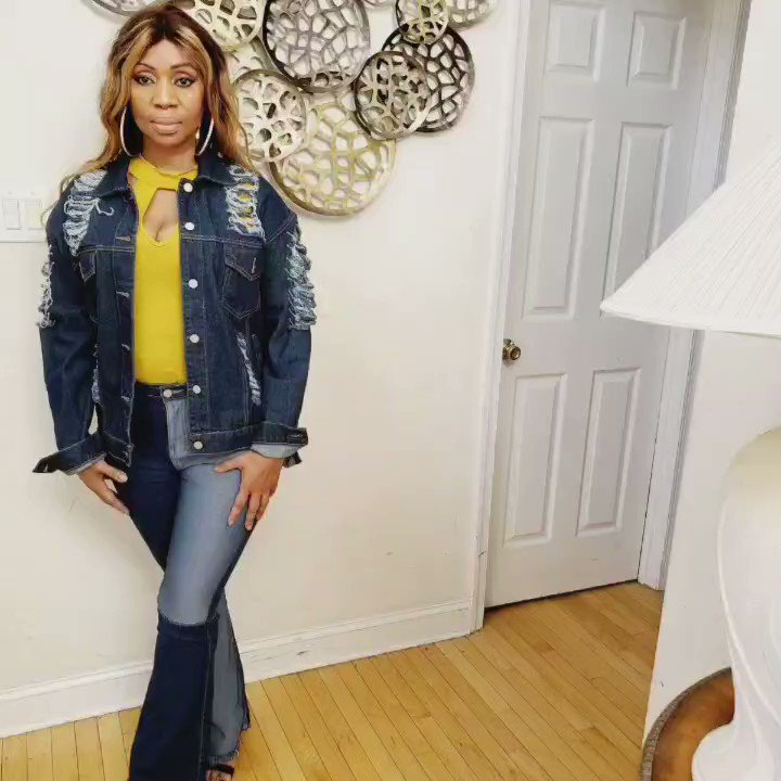 Incredibly Gorgeous Denim Jacket And Pants  Available At  Searches: Top: Yetzi Jacket: Patra  Pants: Serrill Click Here To Purchase 👇    #fashion #share #RETWEET #black #viral #Sales #Tbt
