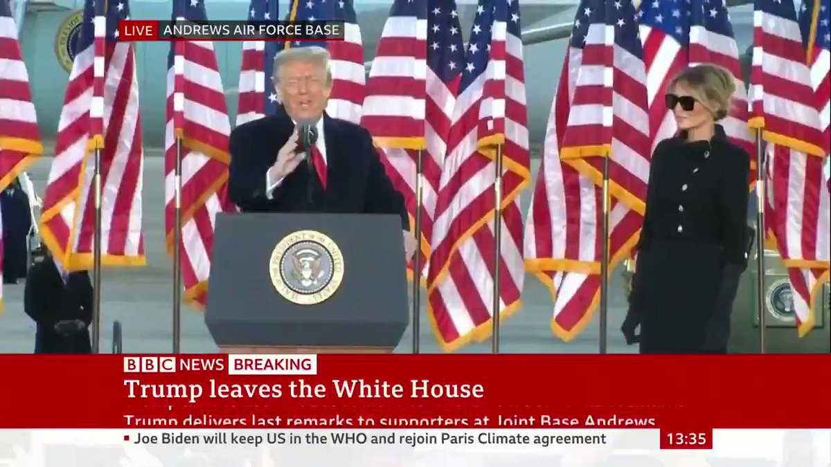 """""""This has been an incredible four years, we've accomplished so much together""""  Donald Trump speaks, for the final time as US President, saying """"it's been something very special, we've accomplished a lot"""""""