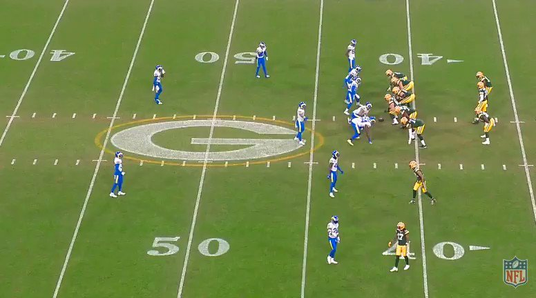 2:25 1Q:  Third time, this time for 5 yards. 54 is lined up wide over the TE, so 28 takes the cutback lane with 77 sealing the edge and opening the hole. Nothing glamorous so far, GB just taking advantage of the Rams' greatest strength and using it against them. #LARvsGB