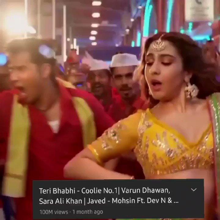 After #HusnnHaiSuhana another song from #CoolieNo1 gets 100 million views 🥳🥳🎉 #TeriBhabhi that's what I call #VarSara magic and their power ❤ #SaraAliKhan #VarunDhawan