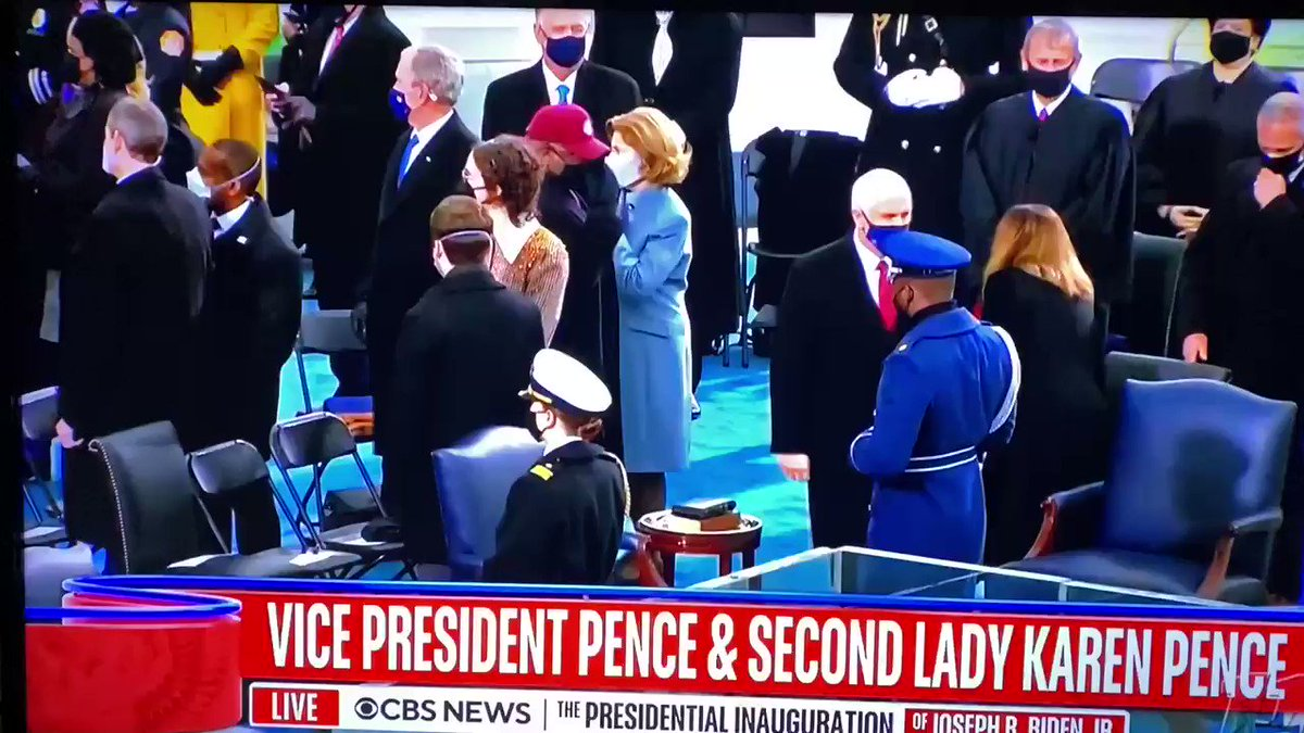 Outstanding coverage of #BidenHarrisInauguration by @edokeefe and @MajorCBS. Interesting what they said about VP Pence who arrived and missed #TrumpsLastDay.
