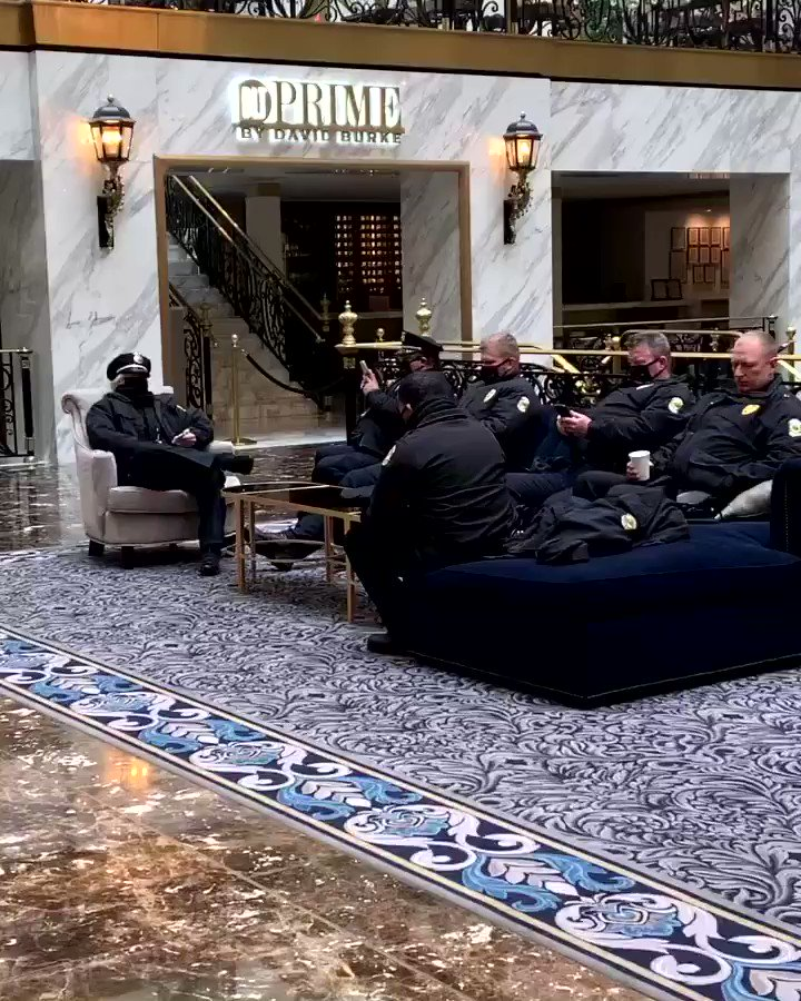 "Trump DC hotel open for DCPD.   Strange the our wonderful & totally unbiased press corps had ZERO questions for pres sec on Nat'l Guard troops being move out of a congressional building into an open cold garage.  If Trump were pres they would be ""outraged"""