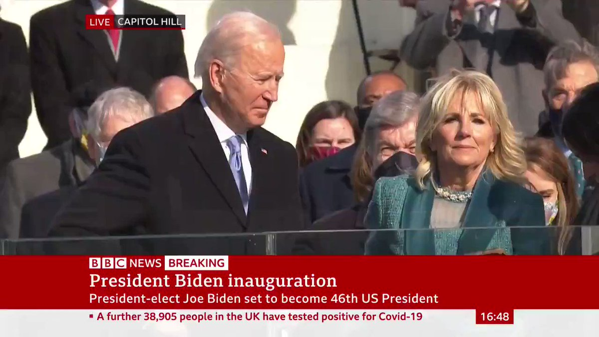 """""""Congratulations Mr President""""  Joe Biden sworn in by Supreme Court Chief Justice John Roberts, becoming the 46th president of the United States"""