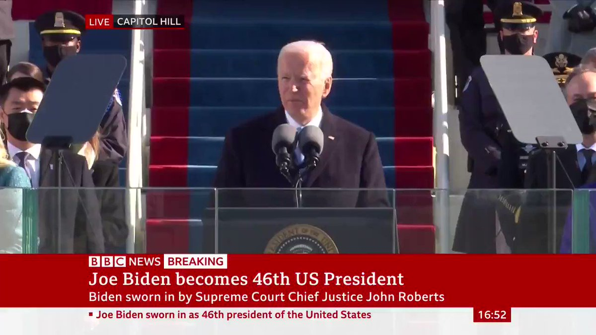 """""""This is America's day. This is democracy's day. A day of history and hope""""  President Joe Biden says """"democracy has prevailed"""" as he becomes the 46th president of the United States"""