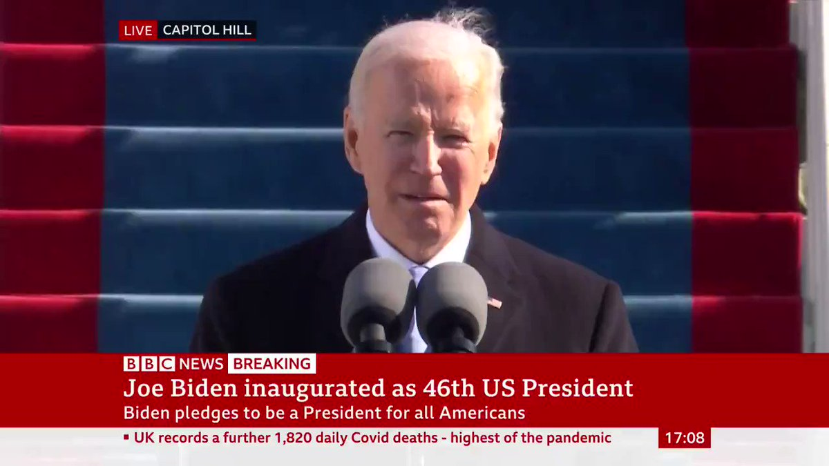 """""""Those 400,000 fellow Americans: moms, dads, husbands, wives, sons, daughters, friends, neighbours and co-workers – we'll honour them""""  President Joe Biden leads silent prayer to """"those who've lost their lives, and those left behind"""" by the Covid pandemic"""