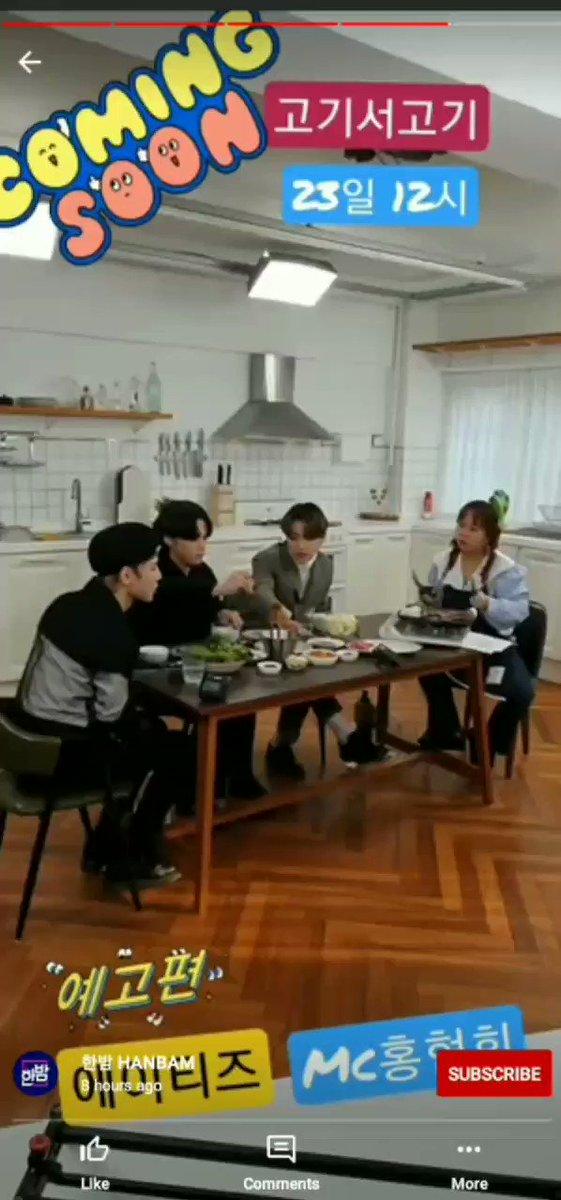 "📢 |  #Hongjoong, #Yeosang e #Wooyoung nos stories do YouTube da SBS HANBAM enquanto gravavam o programa ""Meat Up!"".  🔗:   © transforatz  #ATEEZ #에이티즈 @ATEEZofficial"