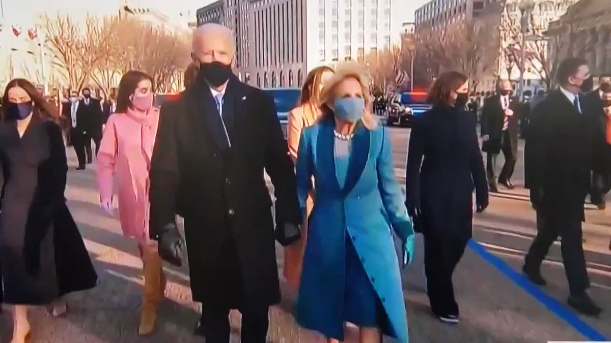 Replying to @susanbordson: All day, I've loved the colorful coats. #HereWeCome #Inauguration2021 #Inauguration