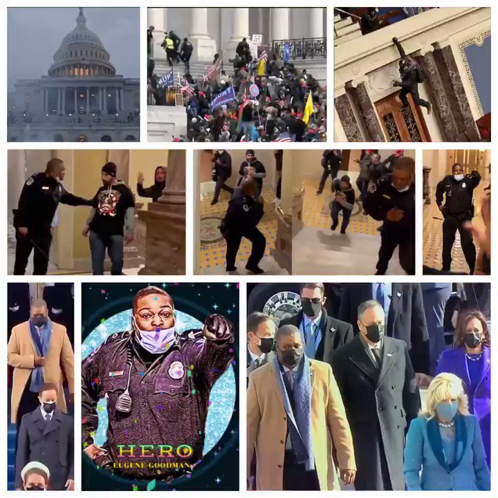 Eugene Goodman    -Faced a-murderous-mob on a-hunt for #NancyPelosi & #MikePence His quick thinking diverted the-mob & saved lives.  Today he escorted #KamalaHarris at the #inauguration & was named new -acting deputy House Sergeant at Arms.  #EugeneGoodman #EugeneGoodmanIsAHero