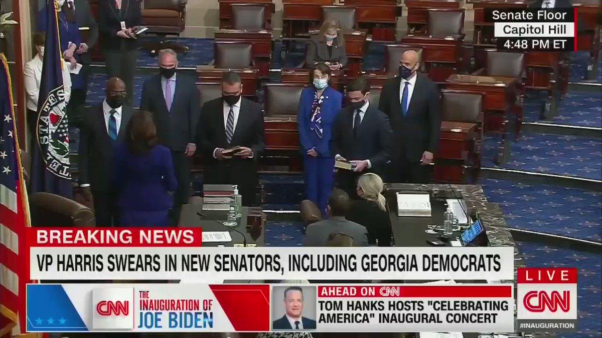 Black and South Asian VP swears in Latino, Black, and Jewish Senators to take the U.S. Senate majority.