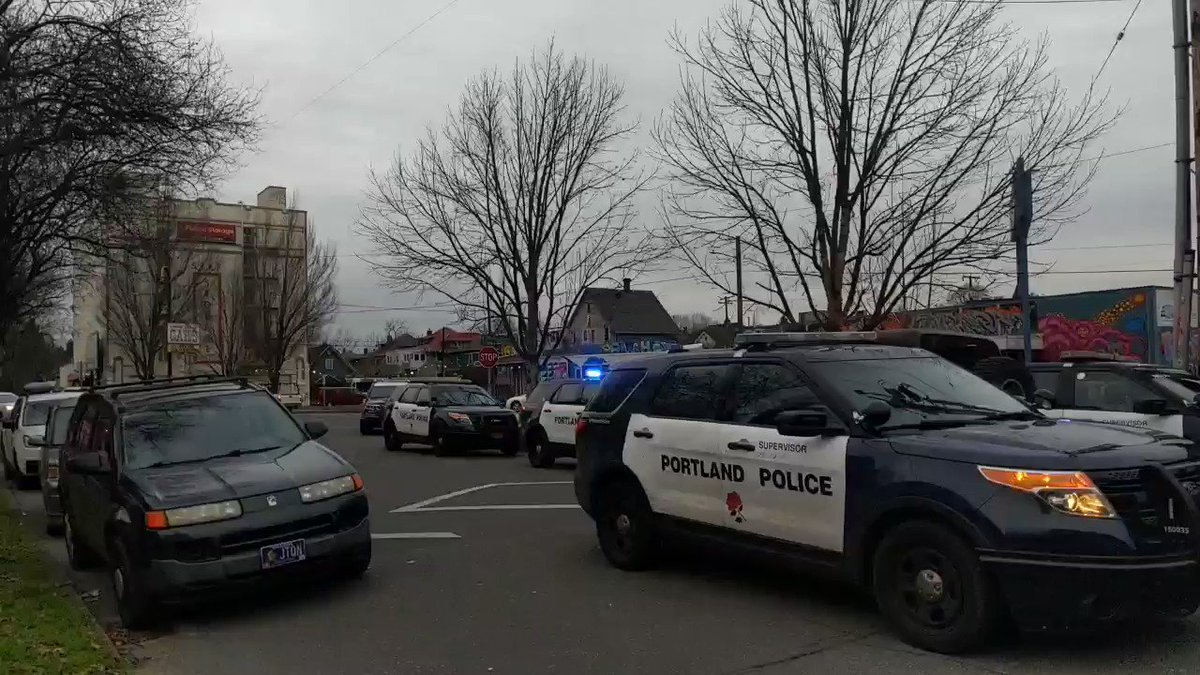 Wondering why PPB has low response time and wastes millions? This is how many cop cars are here for arresting two people who were pulled over for not using a turn signal. Many officers are not wearing masks.