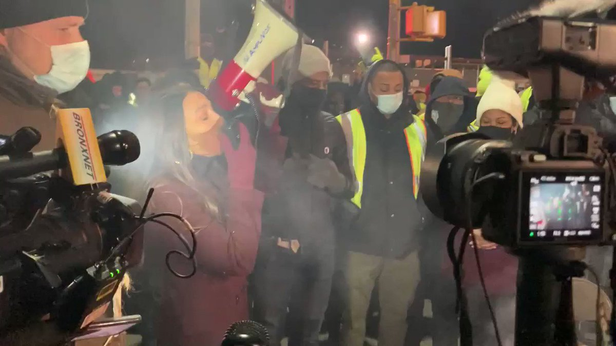 """""""Something's upside down,"""" says @AOC at a rally supporting Hunts Point workers in the #Bronx on strike tonight fighting for a $1 raise."""