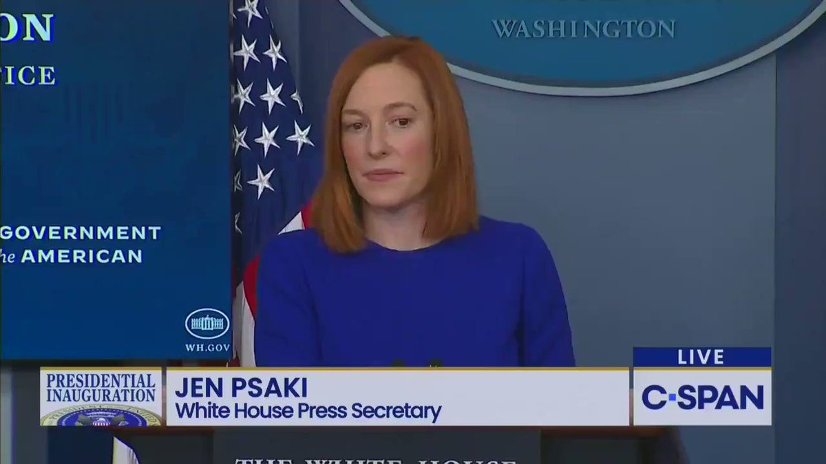 """REPORTER: """"Will [Biden] keep Donald Trump's Air Force One color scheme change?  PSAKI: """"This is such a good question!"""""""