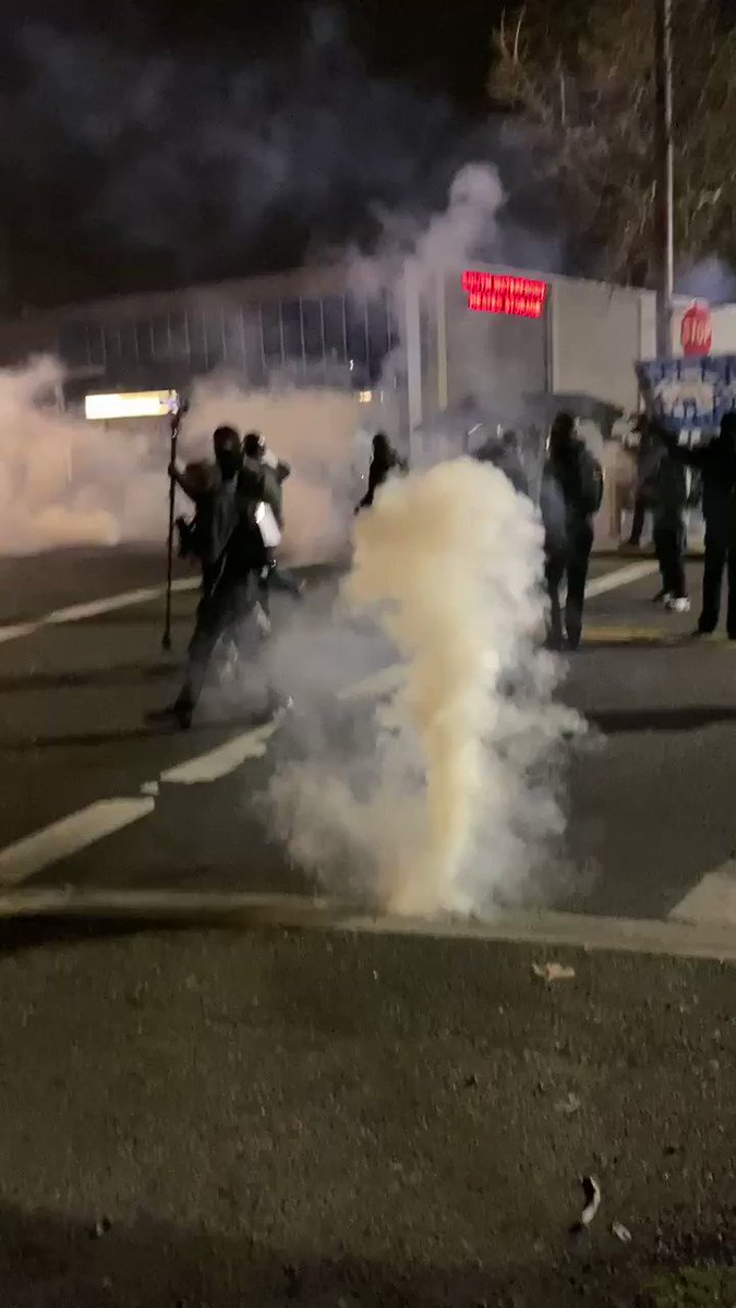 Tear gas deployed outside the ICE facility in Portland