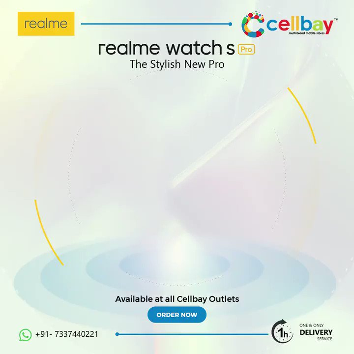 #SmartWatch to be Smarter Round the Clock  #RealmeWatchSPro comes with  - Blood Oxygen Monitor - 14 Days Long Standby - 3.5cm Large AMOLED Touchscreen - 15 Sport Modes - 100+ Stylish Watch Faces  Contact us at 7337440221  #Cellbay #CellbayMobiles #Realme #Hyderabad