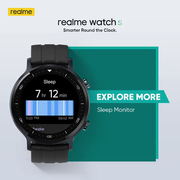 Do more and explore a variety of functions from Sleep Monitor to Drinking Water Reminder and much more on the #realmeWatchS. Time to be #SmarterRoundTheClock! Starting at ₹4,999. Get yours on  & @Flipkart. Buy now: