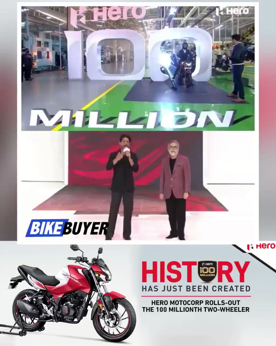 #HeroMotoCorp rolls out 100 millionth motorcycle out of the assembly line, Haridwar facility. The 100 millionth bike  is a Hero Xtreme 160R, Pawan Munjal, CMD, Hero MotoCorp along with Shahrukh Khan @iamsrk  were present. @HeroMotoCorp #MakeInIndia #India #100MillionHeroes #SRK