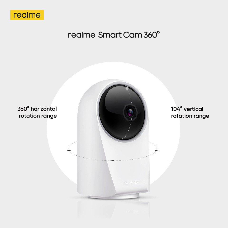 Up, down, left, right. Be it day or night.  Capture everything with 360° horizontal rotation and 104° vertical rotation range of the #realmeSmartCam and stay in total control.  Available on , @amazonIN & @Flipkart. Buy now: