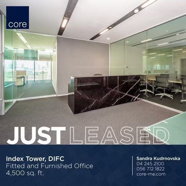 CORE is pleased to announce a successful lease of 4,500 sq. ft. at Index Tower, DIFC.  For more information, please contact us on +971 4 245 2100 or visit our website   #weknowcommercial #justleased #officespace #office #officedesign #interiordesign