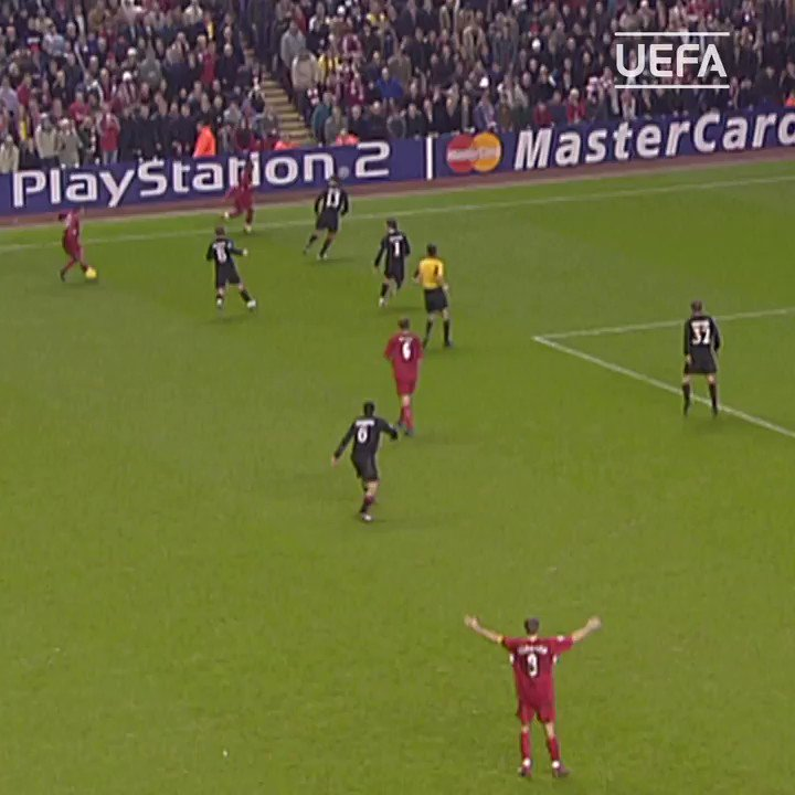 😎 #TBT to 2004 at Anfield: an iconic Steven Gerrard moment...  #UCL | @LFC