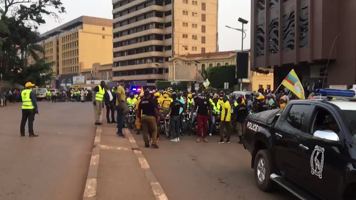 A victory lap for Yoweri Museveni as he rides into Kampala to celebrate winning his sixth term as president, after 35 years in power. #uganda