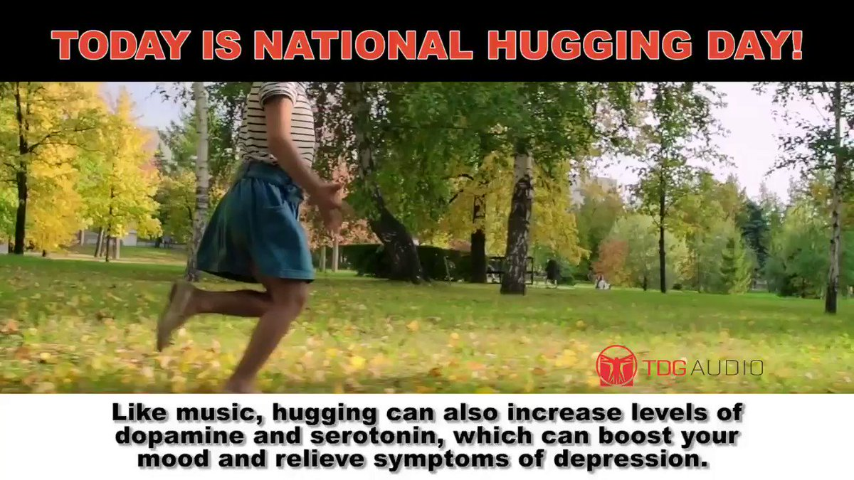 Today is National Hugging Day!  Like music, hugging can also increase levels of dopamine and serotonin, which can boost your mood and relieve symptoms of depression. #hugs #hugging #nationalhuggingday #TDG #music #mentalhealth #speakers