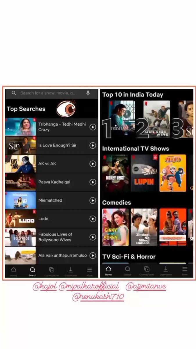 #Tribhanga Top10 AND Top Search in @NetflixIndia  @ajaydevgn @ADFFilms @Banijayasia @deepak30000 @NegiR @AlchemyFilms @sidpmalhotra @ParagDesai @itsKajolD @mipalkar  @ikunaalroykapur @renukash @Meena_Iyer @KumarMangat