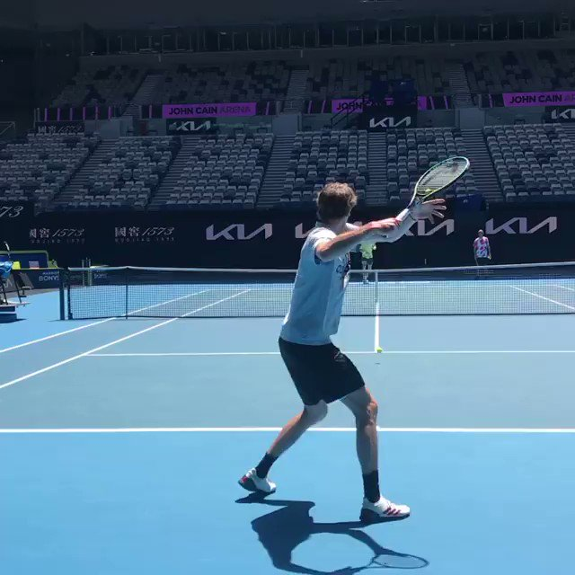 Court-level with two of the world's best 👀  @AlexZverev and @AndreyRublev97 hitting some sweet strokes as they prepare for the @AustralianOpen... 💪  #DavisCup | 🎥 @AlexZverev